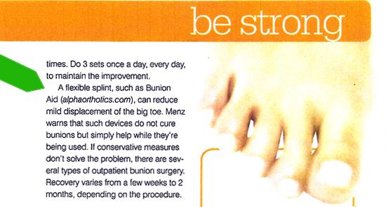 Bunion Aid® mentioned in Prevention magazine