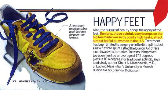 Bunion Aid® featured as a proven bunion treatment in Womens Health magazine